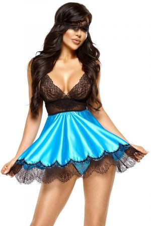 EVE BABYDOLL WITH MASK BLUE