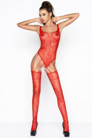 STRAPPY LACE BODYSTOCKING RED