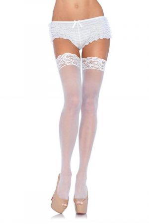LACE TOP SHEER STOCKINGS WHITE