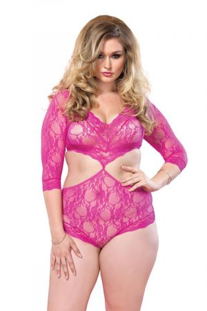LACE CUTOUT TEDDY PINK PLUS