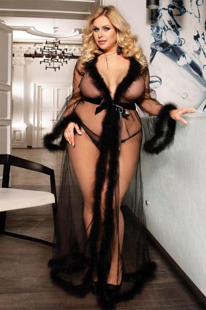 FESTIVE FUR TRIM ROBE BLACK PLUS