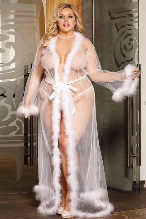 FESTIVE FUR TRIM ROBE WHITE PLUS