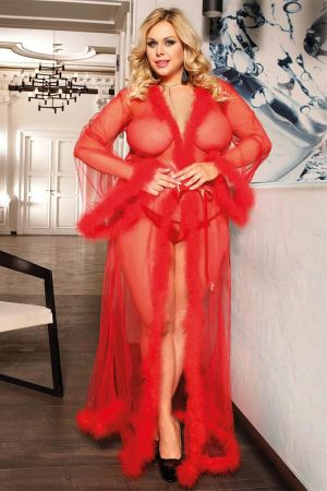 FESTIVE FUR TRIM ROBE RED PLUS